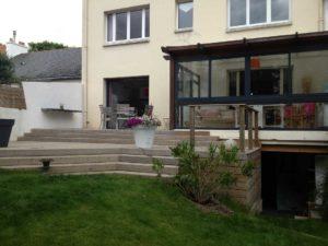 escalier bois terrasse