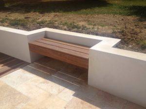 maçonnerie bois terrasse banc