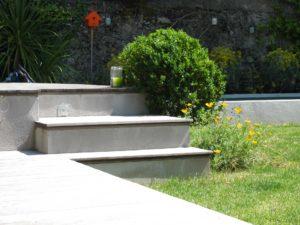 escalier terrasse buisson