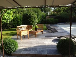 salon jardin terrasse bois dallage