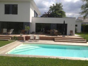 piscine salon jardin terrasse bois